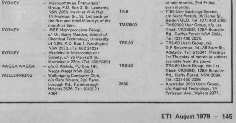 Some Sydney computer club listings from 1979