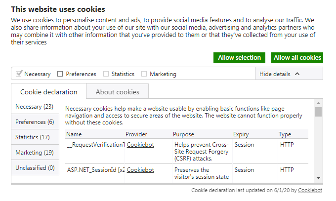 Showing cookies from manage.cookiebot.com