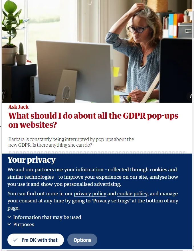 Showing cookie pop-up from theguardian.com