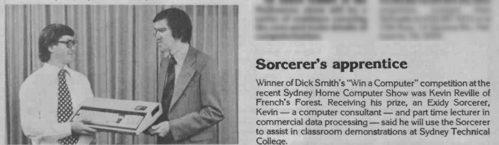 Showing Dick Smith presenting an Exidy Sorcerer computer