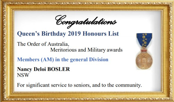 Queen's Birthday Honour to Nan Bosler for services to seniors & the community
