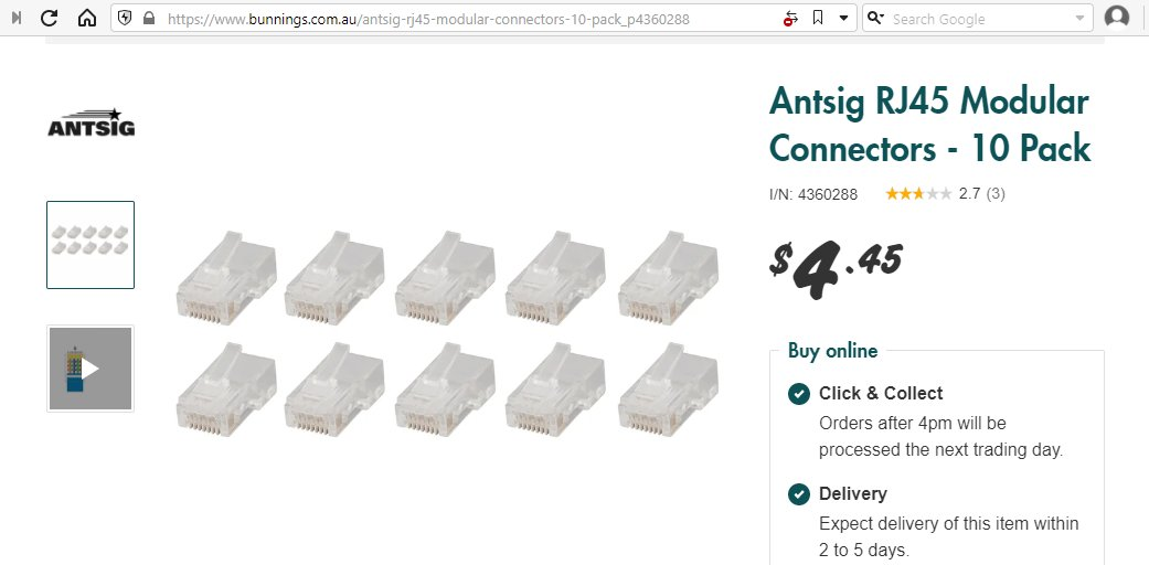 A pack of 10 RJ45 connectors.