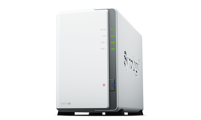 Two-bay Synology Network Attached Storage model DS218J