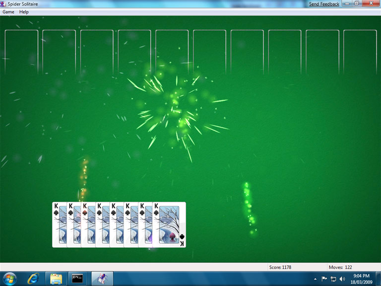 Fireworks at the end of spider solitaire