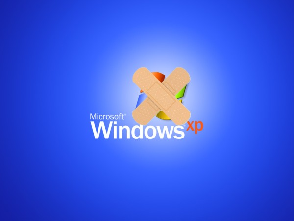 Showing Microsoft XP with crossed band-aids