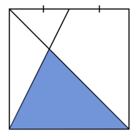 A square 1 line from bottom left to top mid point, 2nd line from bottom right to top left. Find area of lower triangle.