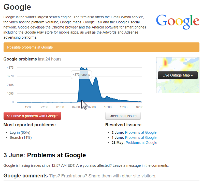 Showing World-wide Google outage on June 3 2019