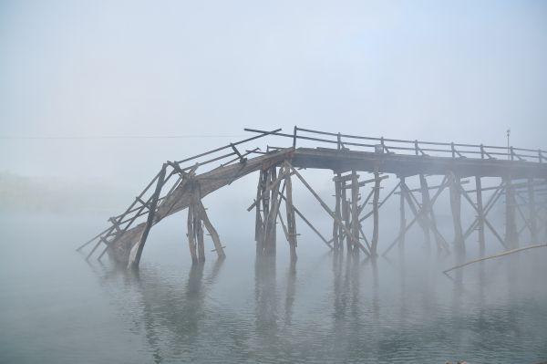 Google+ today -- showing broken wooden bridge in the fog
